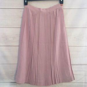 Pastel Pink Perfect Vintage Pleated Midi Skirt
